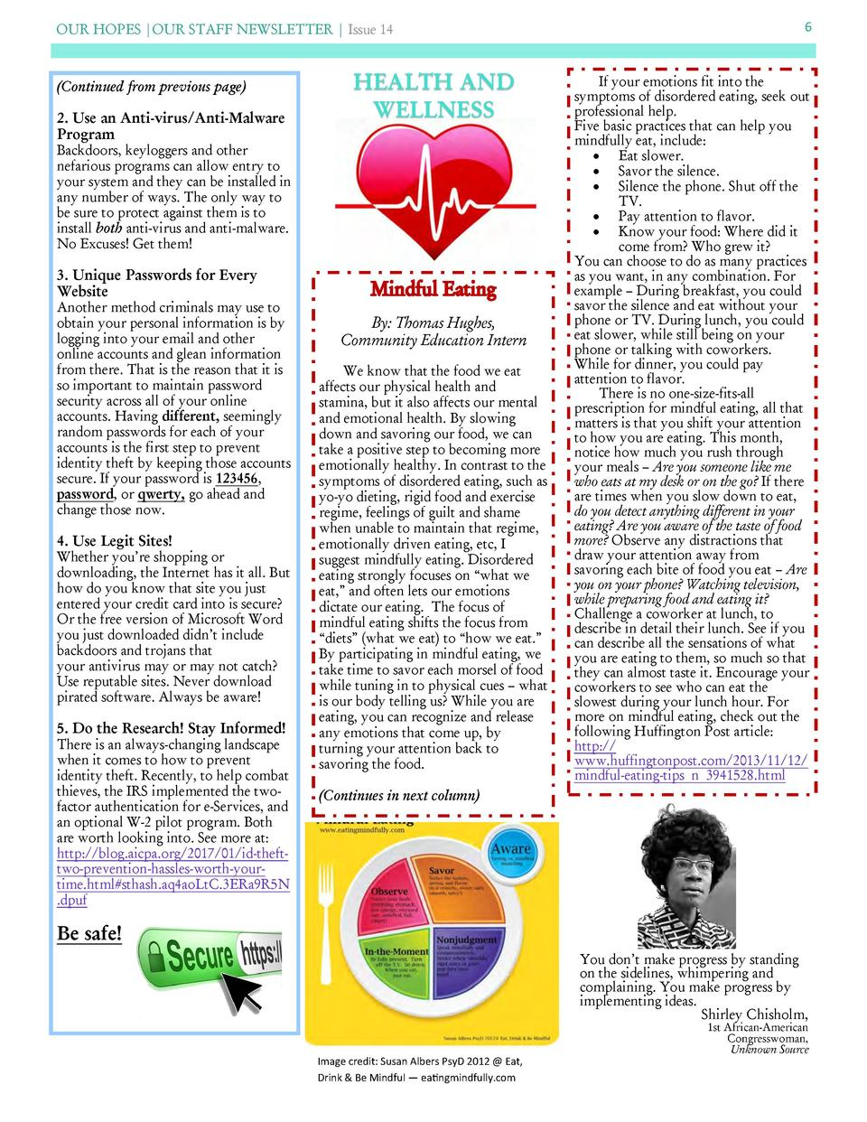 OUR HOPES  OUR STAFF NEWSLETTER   Issue 14   Continued from previous page   2. Use an Anti-virus Anti-Malware Program  HEA...