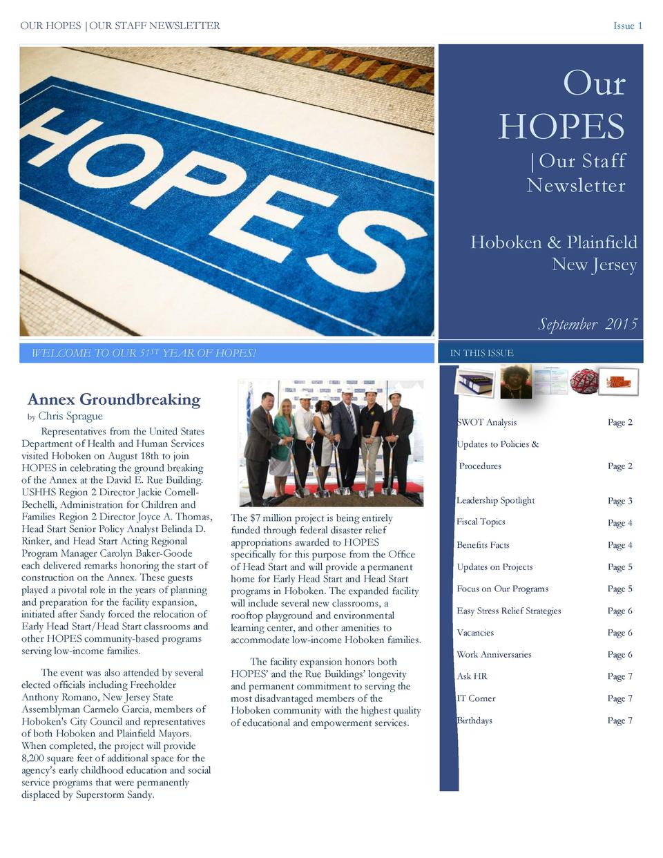 OUR HOPES  OUR STAFF NEWSLETTER  Issue 1  Our HOPES  Our Staff Newsletter  Hoboken   Plainfield New Jersey September 2015 ...