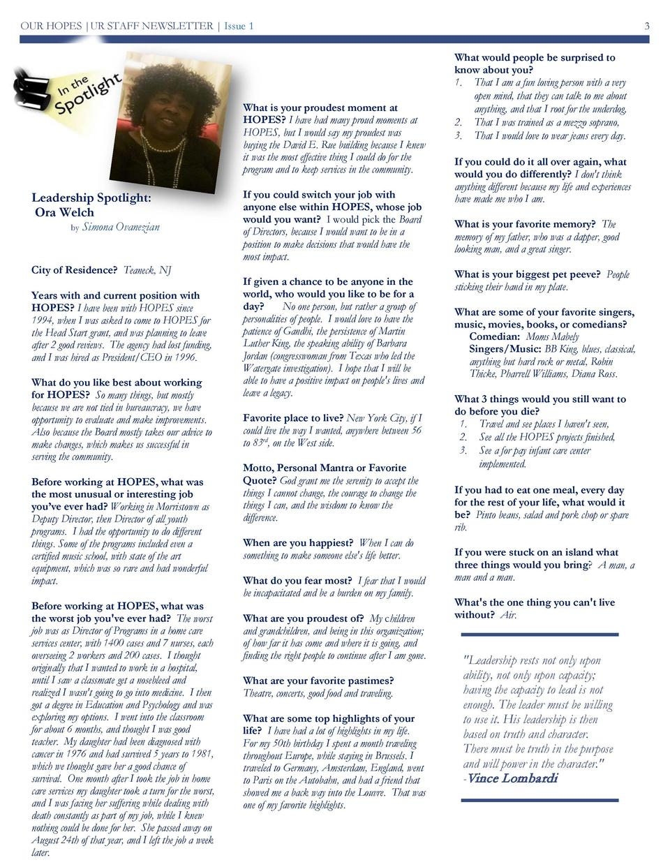 OUR HOPES  UR STAFF NEWSLETTER   Issue 1  What is your proudest moment at HOPES  I have had many proud moments at HOPES, b...