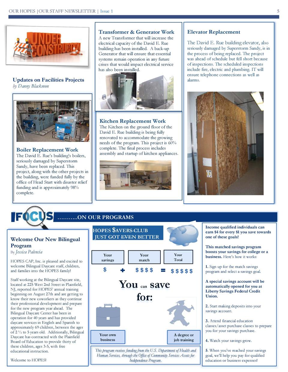 OUR HOPES  OUR STAFF NEWSLETTER   Issue 1  5  Transformer   Generator Work A new Transformer that will increase the electr...