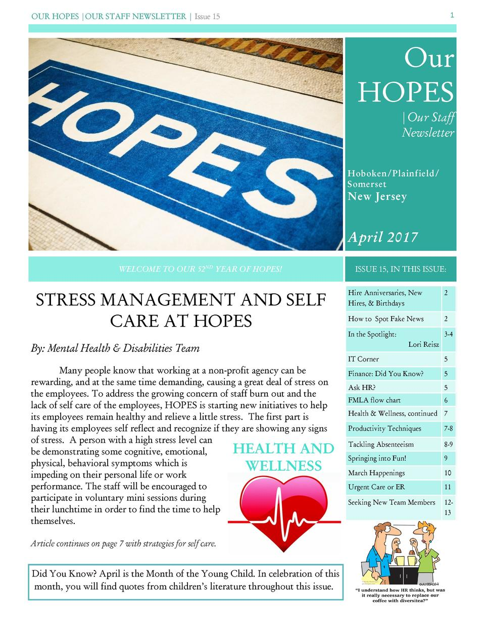 OUR HOPES  OUR STAFF NEWSLETTER   Issue 15  1  Our HOPES  Our Staff Newsletter Hoboken Plainfield  Somerset  New Jersey  A...