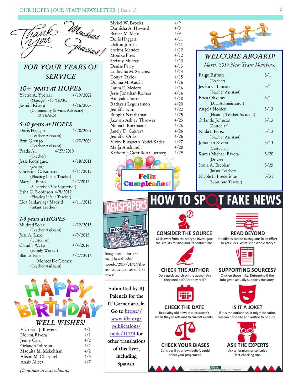 OUR HOPES  OUR STAFF NEWSLETTER   Issue 15  FOR YOUR YEARS OF SERVICE 10  years at HOPES Yvette A. Ypelaar  4 19 2002   Ma...