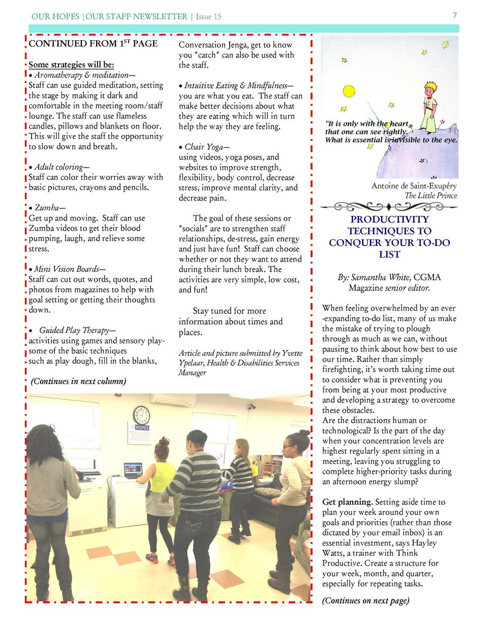 OUR HOPES  OUR STAFF NEWSLETTER   Issue 15  CONTINUED FROM 1ST PAGE Some strategies will be      Aromatherapy   meditation...