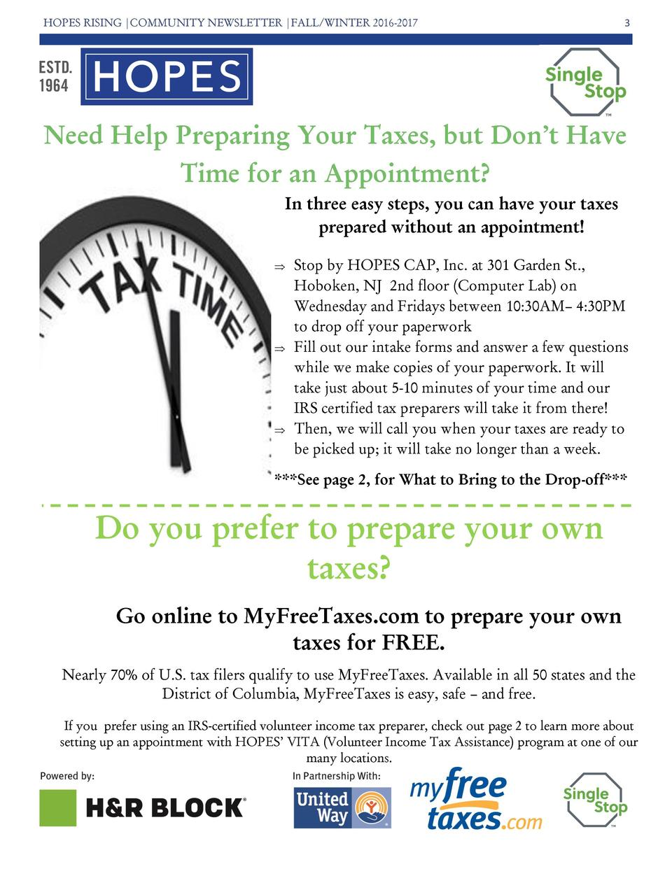 HOPES RISING  COMMUNITY NEWSLETTER  FALL WINTER 2016-2017  3  Need Help Preparing Your Taxes, but Don   t Have Time for an...
