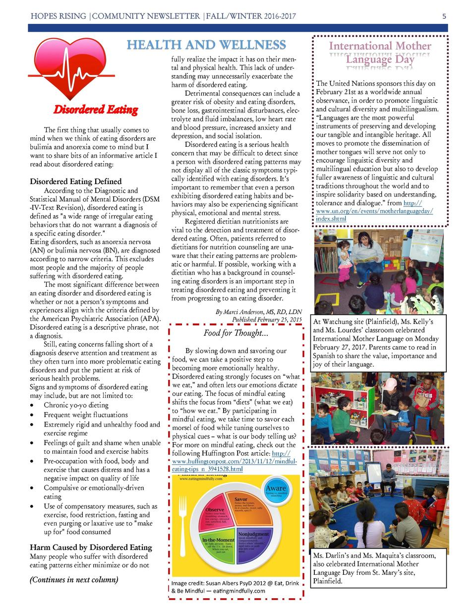 HOPES RISING  COMMUNITY NEWSLETTER  FALL WINTER 2016-2017  HEALTH AND WELLNESS  The first thing that usually comes to mind...