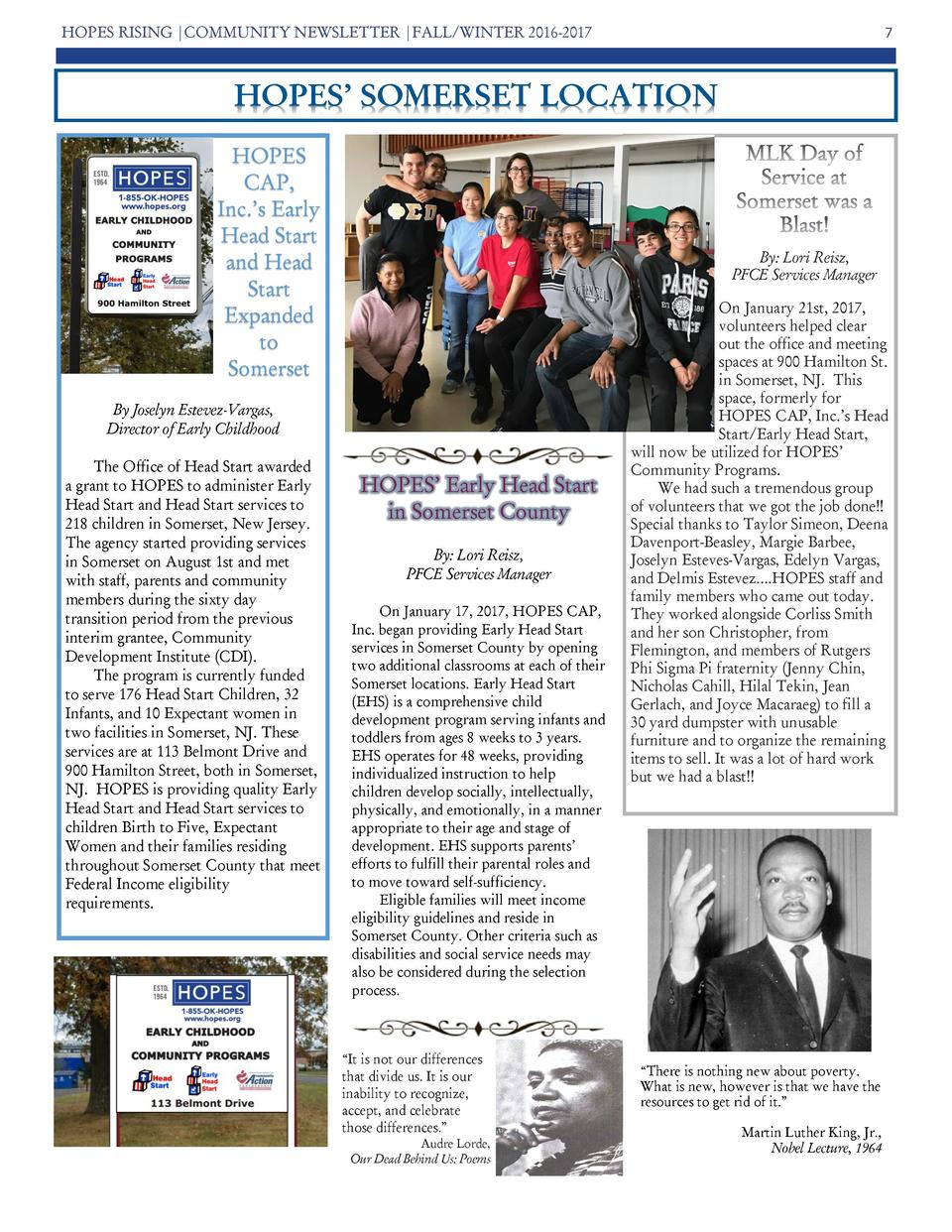 HOPES RISING  COMMUNITY NEWSLETTER  FALL WINTER 2016-2017  7  HOPES    SOMERSET LOCATION HOPES CAP, Inc.   s Early Head St...