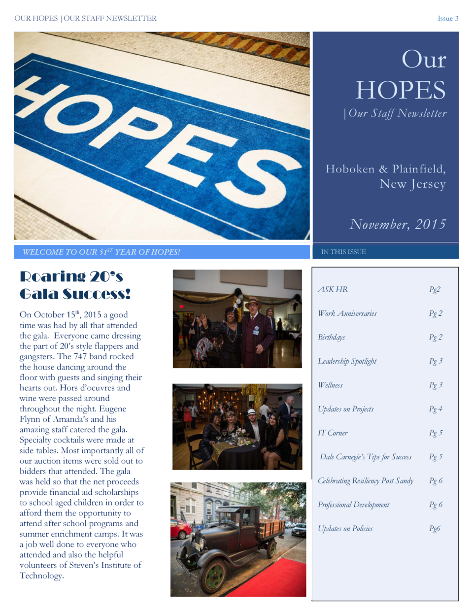 OUR HOPES  OUR STAFF NEWSLETTER  Issue 3  Our HOPES   Our Staff Newsletter  Hoboken   Plainfield,  New Jersey  November, 2...