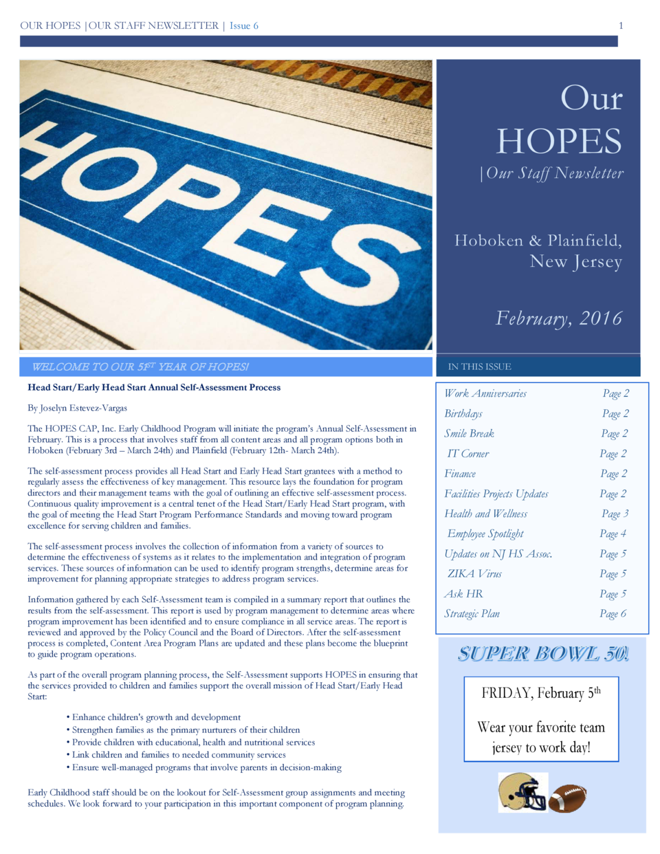 OUR HOPES  OUR STAFF NEWSLETTER   Issue 6  1  Our HOPES   Our Staff Newsletter  Hoboken   Plainfield,  New Jersey  Februar...