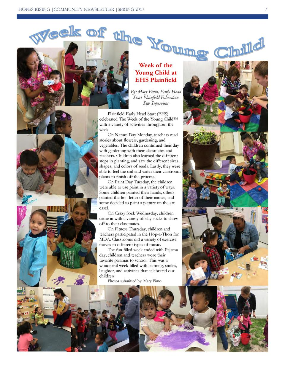 HOPES RISING  COMMUNITY NEWSLETTER  SPRING 2017  Week of the Young Child at EHS Plainfield By  Mary Pinto, Early Head Star...