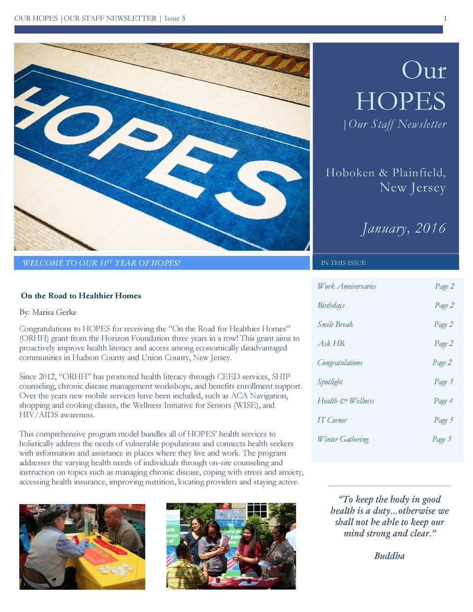 OUR HOPES  OUR STAFF NEWSLETTER   Issue 5  1  Our HOPES   Our Staff Newsletter  Hoboken   Plainfield,  New Jersey  January...