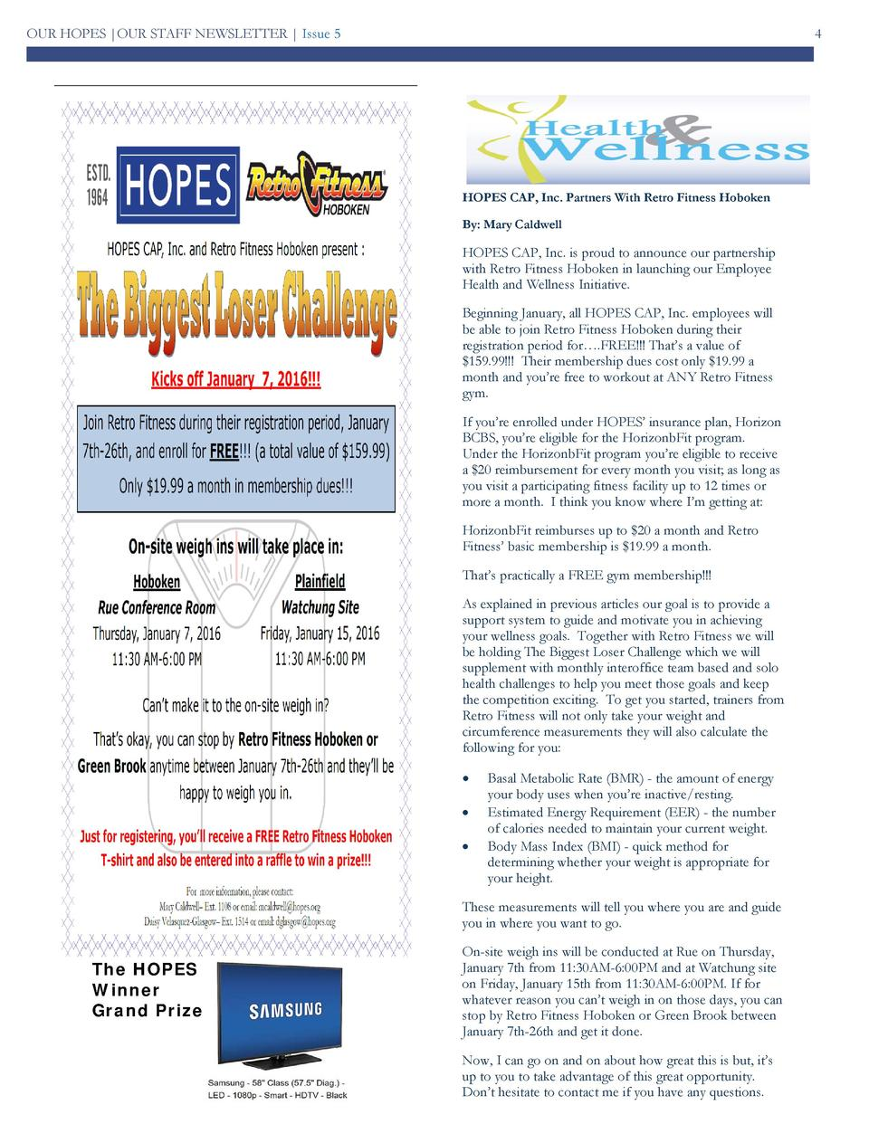 OUR HOPES  OUR STAFF NEWSLETTER   Issue 5  4  HOPES CAP, Inc. Partners With Retro Fitness Hoboken By  Mary Caldwell  HOPES...
