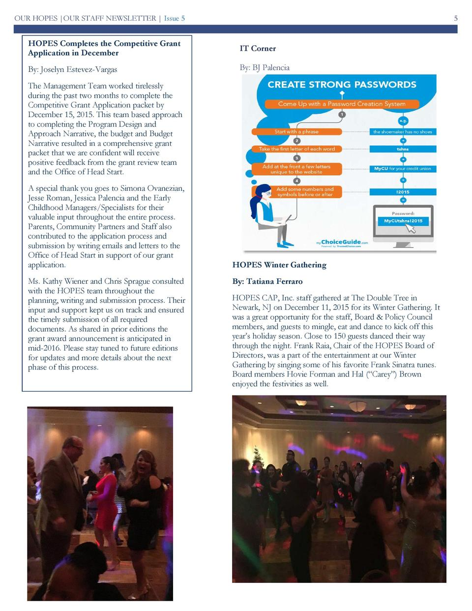 OUR HOPES  OUR STAFF NEWSLETTER   Issue 5  5  HOPES Completes the Competitive Grant Application in December  IT Corner  By...