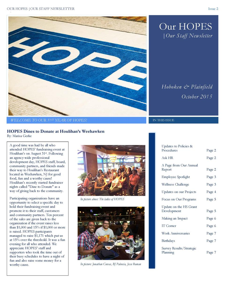 OUR HOPES  OUR STAFF NEWSLETTER  Issue 2  22  Our HOPES  Our Staff Newsletter  Hoboken   Plainfield October 2015  WELCOME ...