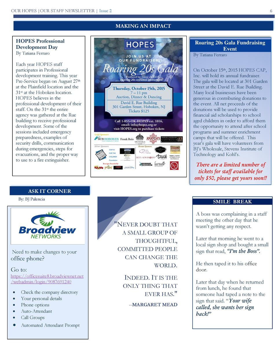 OUR HOPES  OUR STAFF NEWSLETTER   Issue 2  6  MAKING AN IMPACT HOPES Professional Development Day  Roaring 20s Gala Fundra...