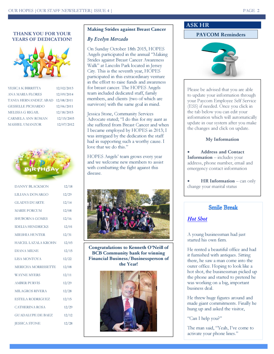 OUR HOPES  OUR STAFF NEWSLETTER  ISSUE 4    THANK YOU FOR YOUR YEARS OF DEDICATION   YESICA K BIRRITTA  12 02 2013  ANA MA...