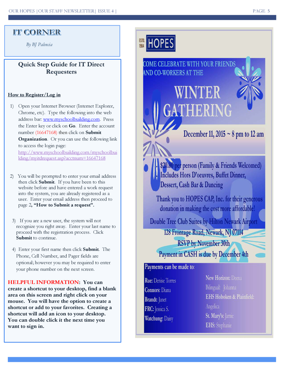 OUR HOPES  OUR STAFF NEWSLETTER  ISSUE 4    By BJ Palencia  How to Register Log in 1  Open your Internet Browser  Internet...
