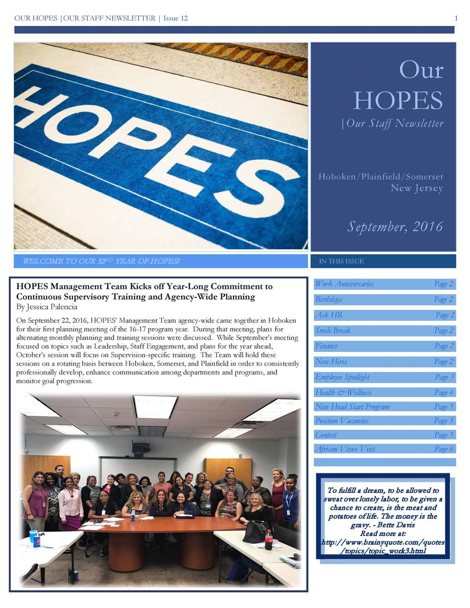 OUR HOPES  OUR STAFF NEWSLETTER   Issue 12  1  Our HOPES   Our Staff Newsletter  Hoboken Plainfield Somerset  New Jersey  ...