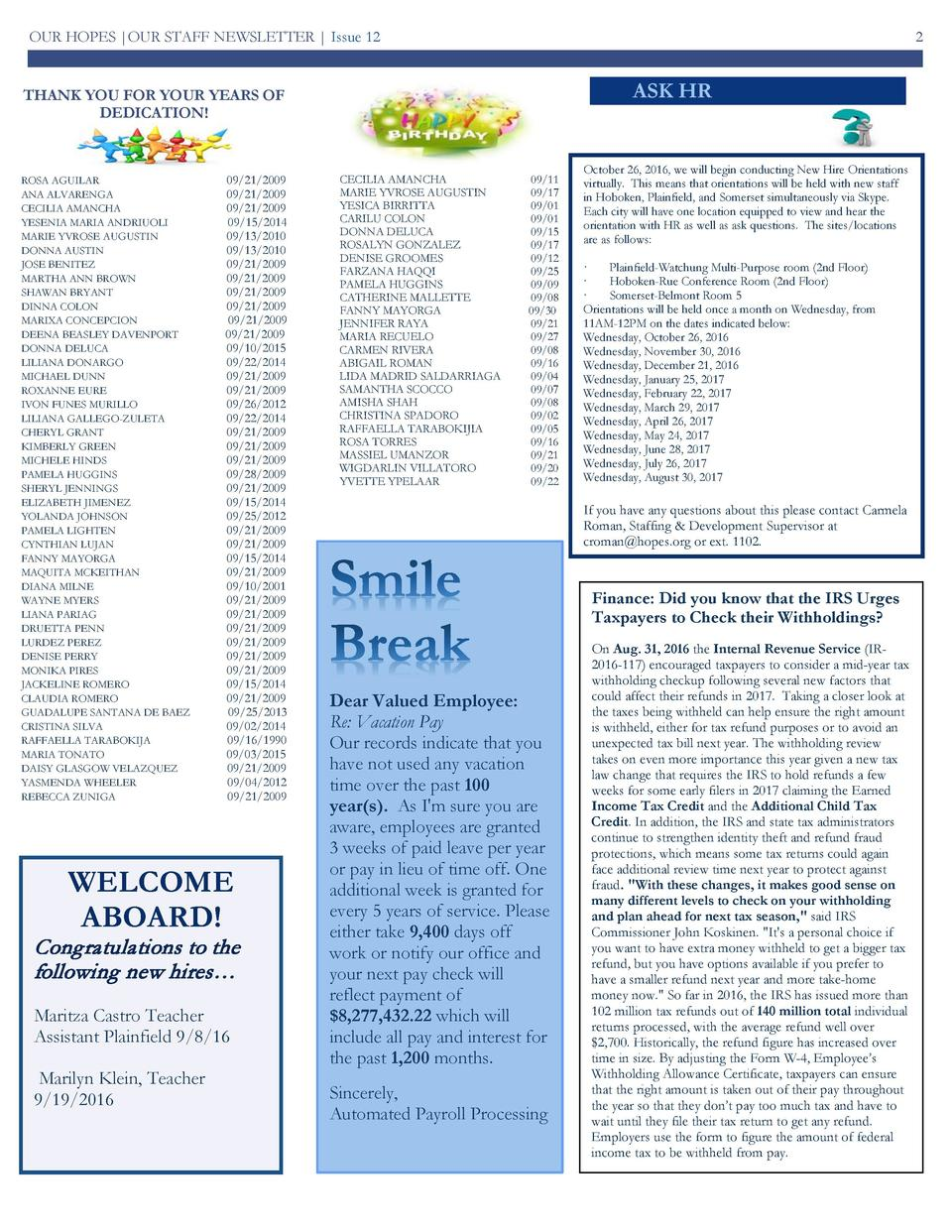 OUR HOPES  OUR STAFF NEWSLETTER   Issue 12  2  ASK HR  THANK YOU FOR YOUR YEARS OF DEDICATION   ROSA AGUILAR ANA ALVARENGA...