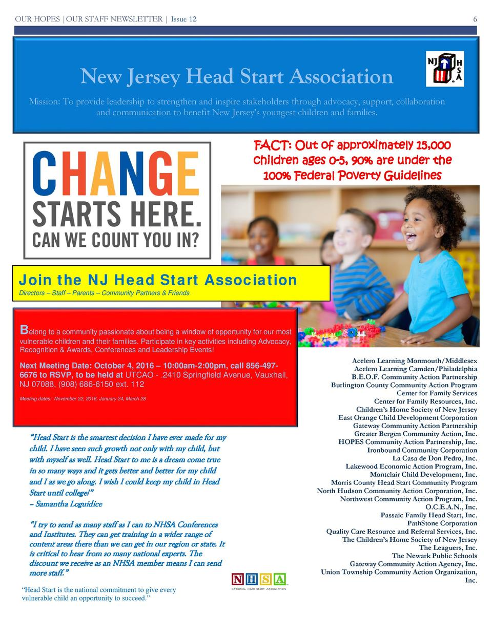 OUR HOPES  OUR STAFF NEWSLETTER   Issue 12  6  Bh  New Jersey Head Start Association Mission  To provide leadership to str...