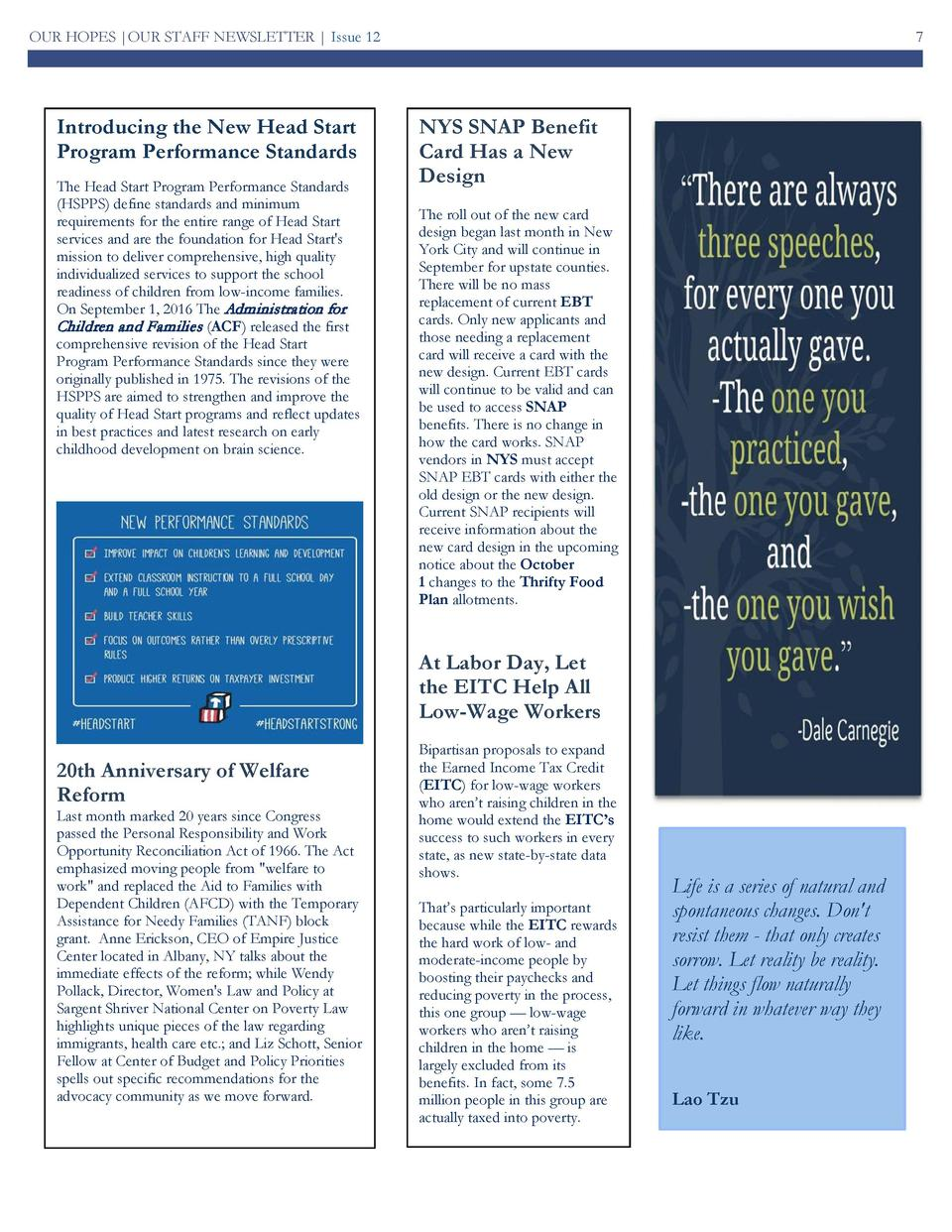 OUR HOPES  OUR STAFF NEWSLETTER   Issue 12  Introducing the New Head Start Program Performance Standards The Head Start Pr...