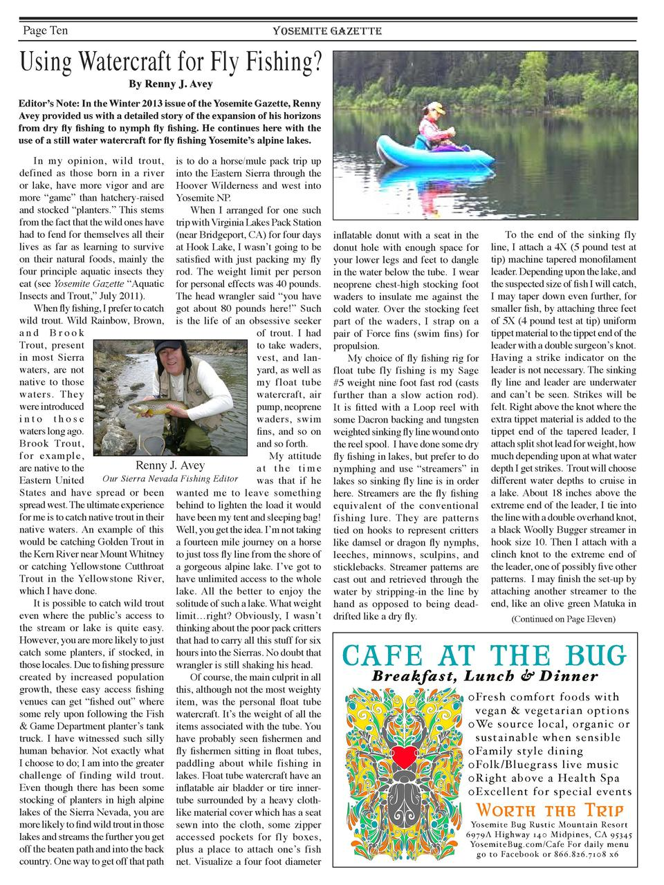 Page Ten  YOSEMITE GAZETTE  Using Watercraft for Fly Fishing  By Renny J. Avey  Editor   s Note  In the Winter 2013 issue ...