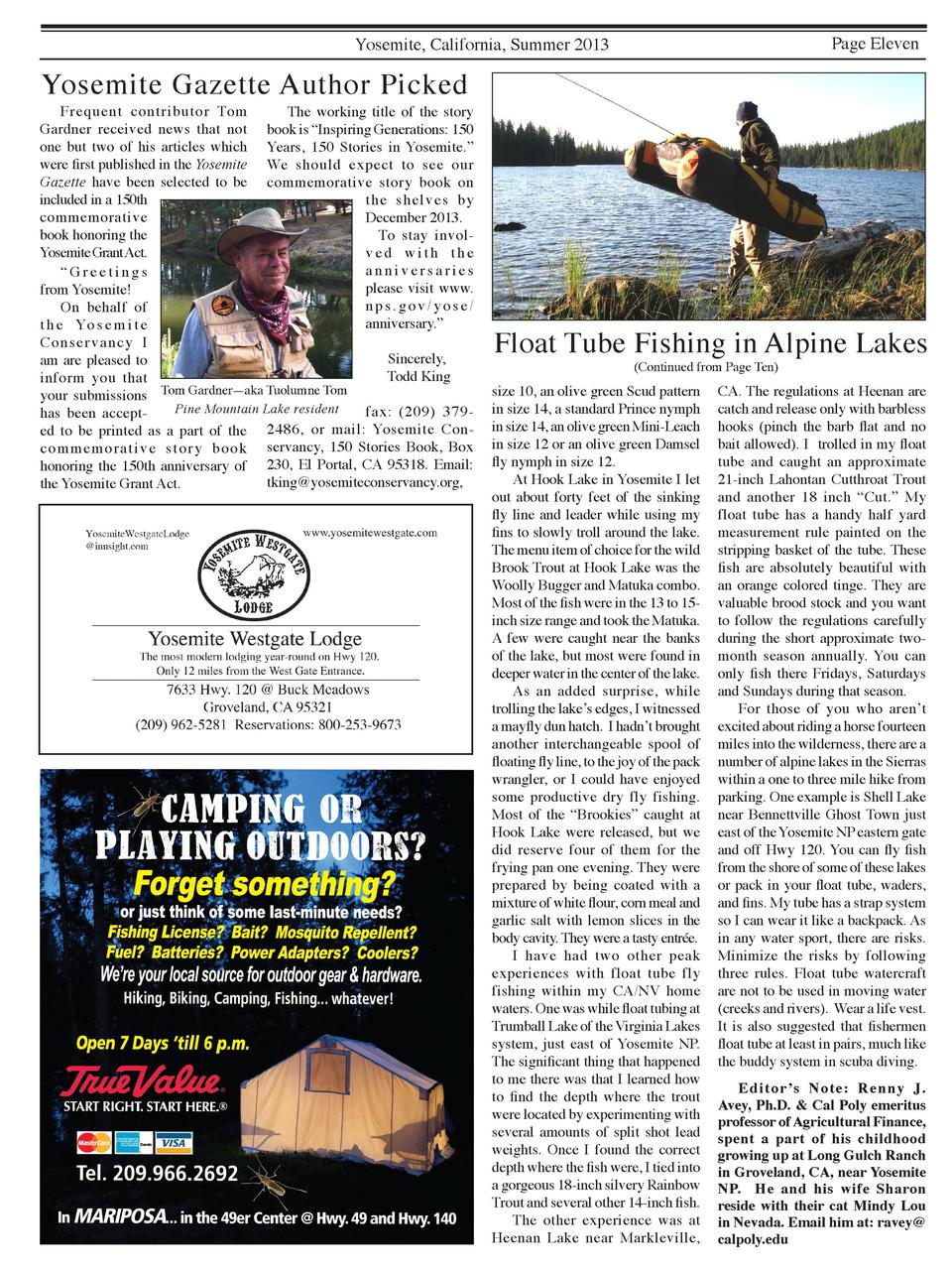 Page Eleven  Yosemite, California, Summer 2013  Yosemite Gazette Author Picked    Frequent contributor Tom   The working t...