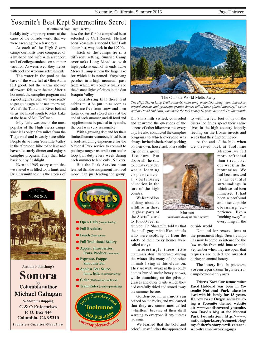 Yosemite, California, Summer 2013  Yosemite   s Best Kept Summertime Secret  Page Thirteen   Continued from Page Twelve   ...