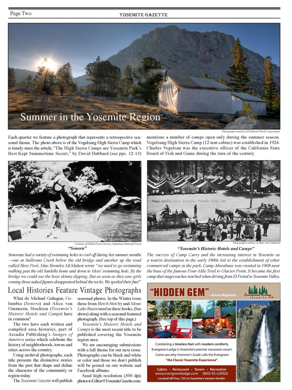 Page Two  YOSEMITE GAZETTE  Summer in the Yosemite Region Photograph courtesy of Delaware North Corporation  Each quarter ...
