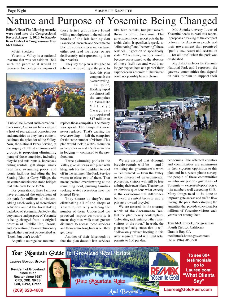 Page Eight  YOSEMITE GAZETTE  Nature and Purpose of Yosemite Being Changed  Editor   s Note  The following remarks were re...
