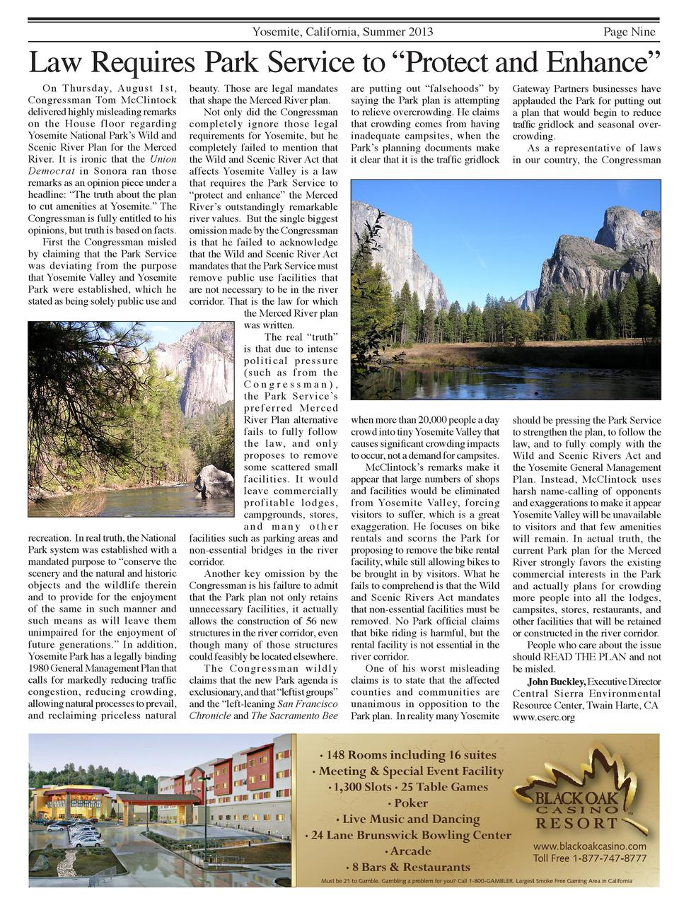 Yosemite, California, Summer 2013  Page Nine  Law Requires Park Service to    Protect and Enhance       On Thursday, Augus...