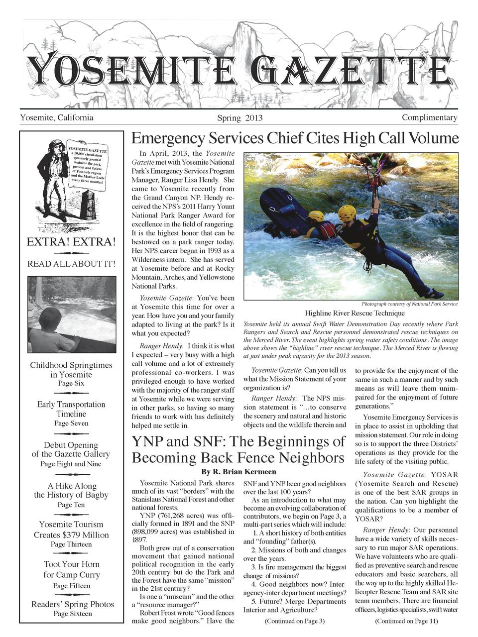 YOSEMITE GAZETTE Yosemite, California YOSEMITE GAZE a 10,000 circul TTE ation quarterly jou rnal features the past,   pres...