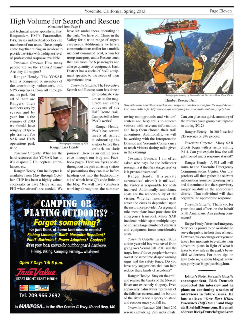 Page Eleven  Yosemite, California, Spring 2013  High Volume for Search and Rescue  Continued from Page 1   and technical r...