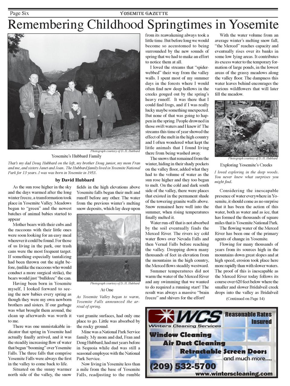 Page Six  YOSEMITE GAZETTE  Remembering Childhood Springtimes in Yosemite  Photograph courtesy of D. H. Hubbard  Yosemite ...