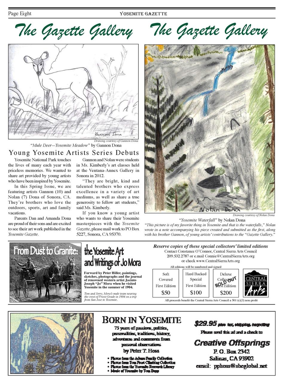 Page Eight  YOSEMITE GAZETTE  The Gazette Gallery The Gazette Gallery  Drawing courtesy of Gannon Dona     Mule Deer   Yos...