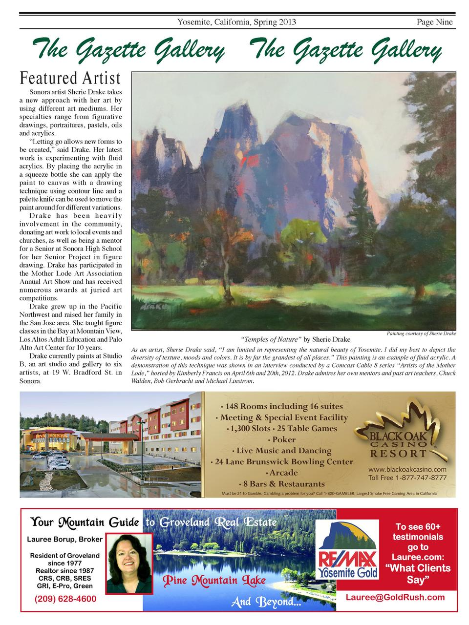 Yosemite, California, Spring 2013  Page Nine  The Gazette Gallery The Gazette Gallery  Featured Artist    Sonora artist Sh...