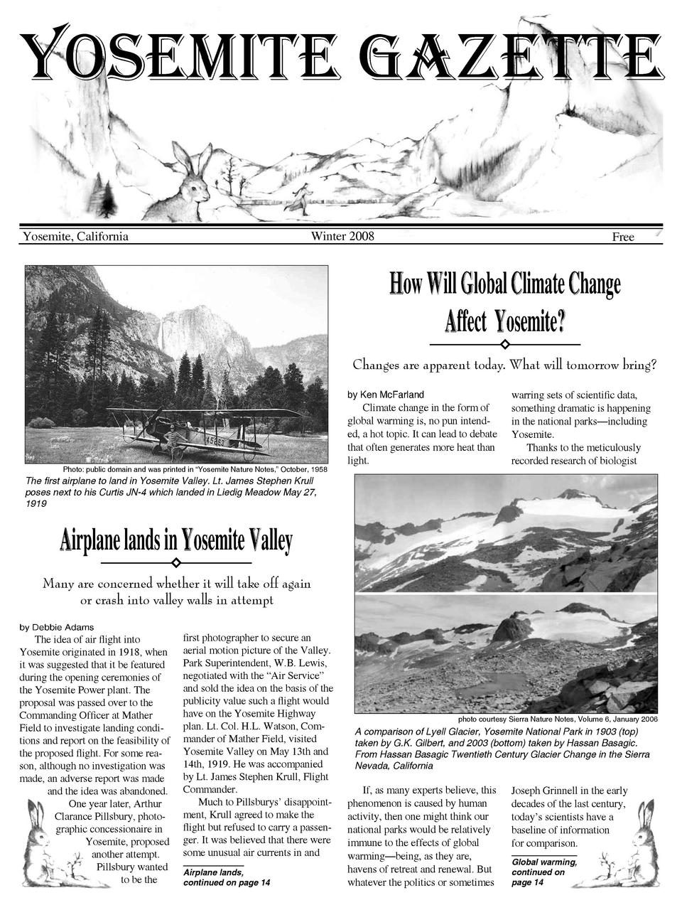 Yosemite Gazette Winter 2008  Yosemite, California  Free  How Will Global Climate Change Affect Yosemite  Changes are appa...
