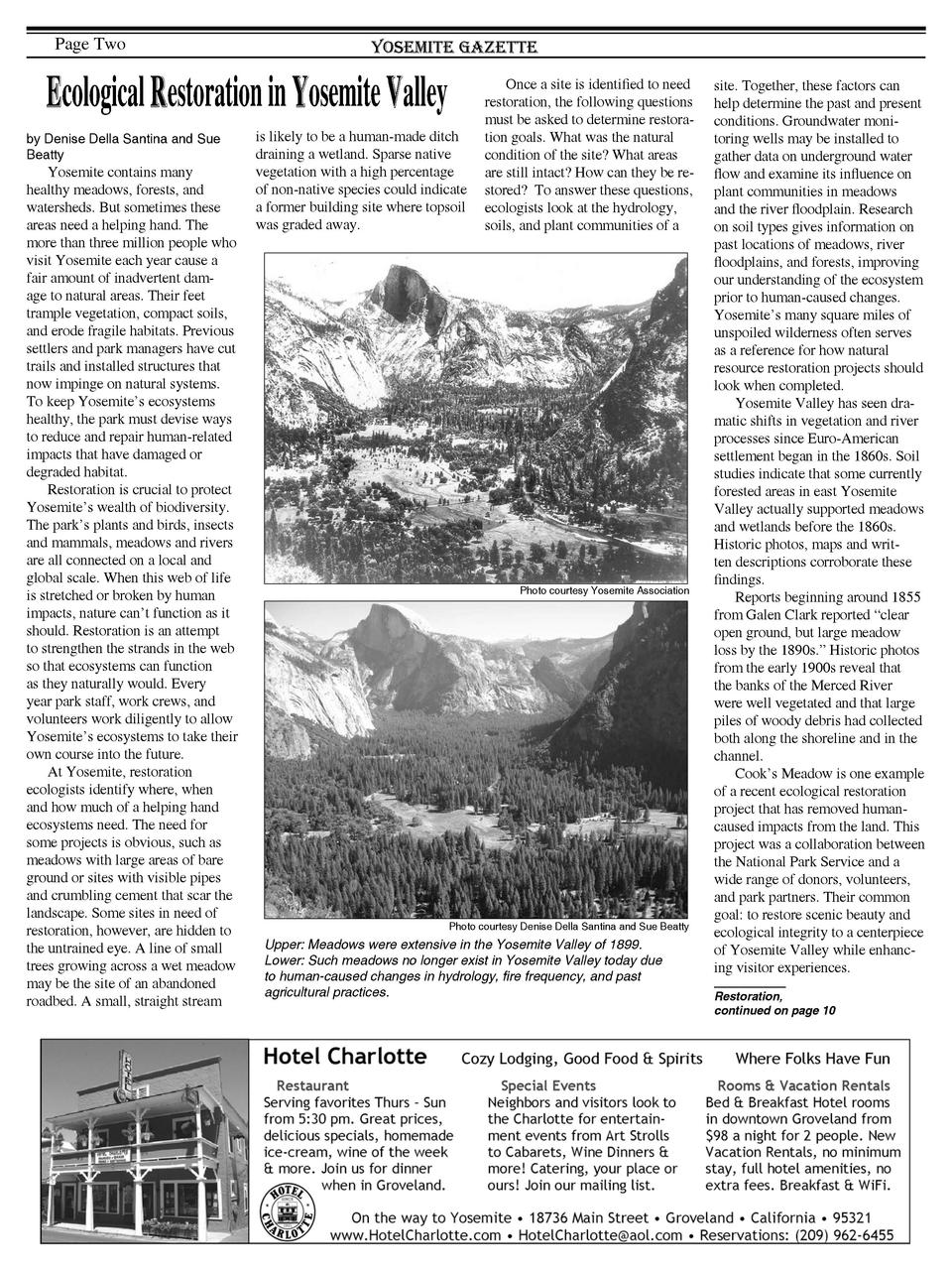 Page Two  Yosemite Gazette  Ecological Restoration in Yosemite Valley by Denise Della Santina and Sue Beatty  Yosemite con...