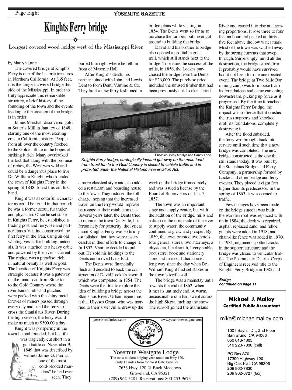 Page Eight  Yosemite Gazette  Kinghts Ferry bridge Longest covered wood bridge west of the Mississippi River by Marilyn La...