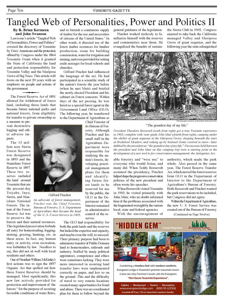 Page Ten  YOSEMITE GAZETTE  Tangled Web of Personalities, Power and Politics II By R. Brian Kermeen and John Swanson  and ...