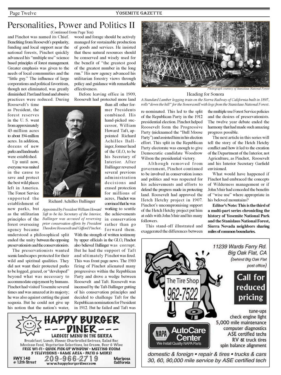 Page Twelve  YOSEMITE GAZETTE  Personalities, Power and Politics II  Continued from Page Ten   and Pinchot was named its C...
