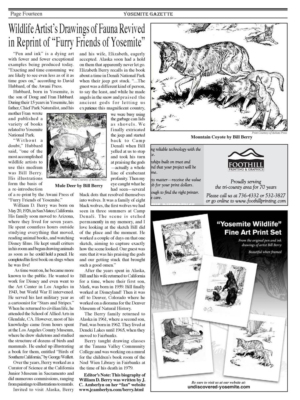 Page Fourteen  YOSEMITE GAZETTE  Wildlife Artist   s Drawings of Fauna Revived in Reprint of    Furry Friends of Yosemite ...