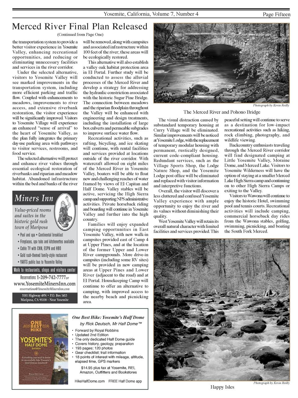 Yosemite, California, Volume 7, Number 4  Page Fifteen  Merced River Final Plan Released  Continued from Page One   the tr...