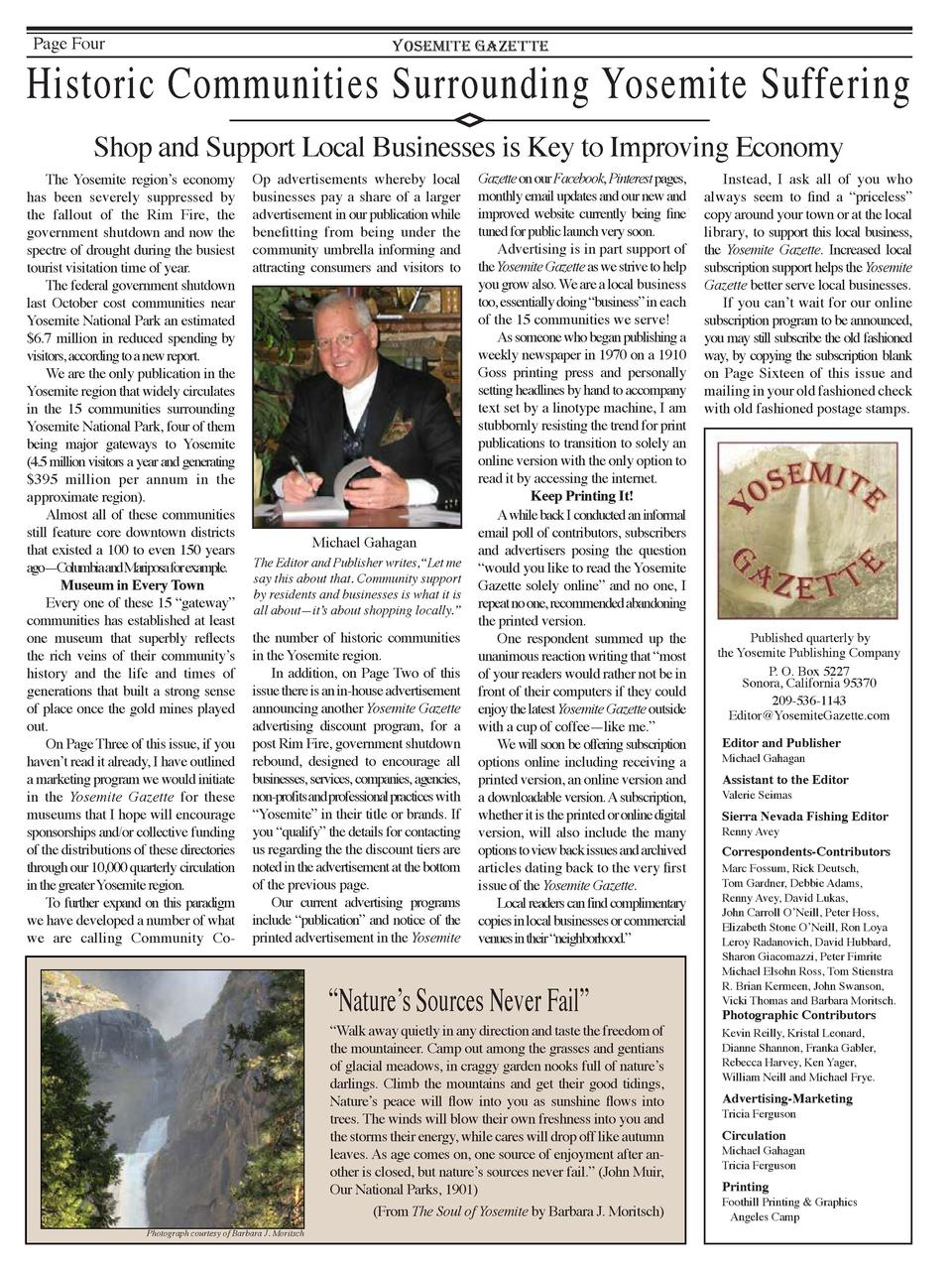 Page Four  YOSEMITE GAZETTE  Historic Communities Surrounding Yosemite Suffering Shop and Support Local Businesses is Key ...