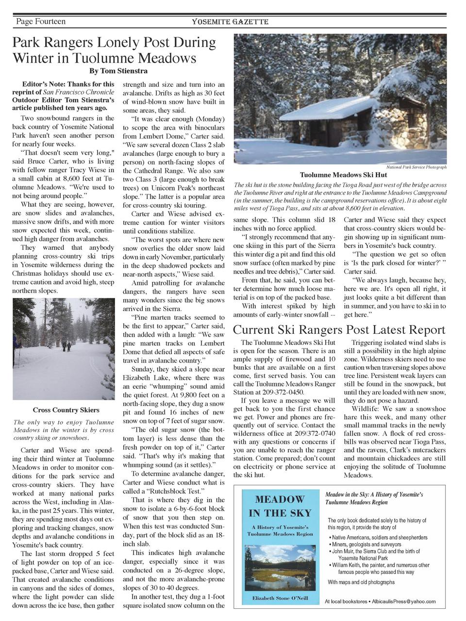 Page Fourteen  YOSEMITE GAZETTE  Park Rangers Lonely Post During Winter in Tuolumne Meadows By Tom Stienstra    Editor   s...