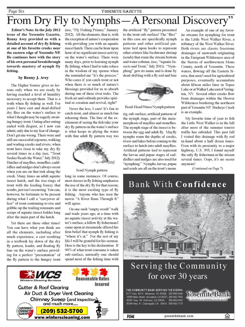 Page Six  YOSEMITE GAZETTE  From Dry Fly to Nymphs      Personal Discovery    A  Editor   s Note  In the July 2012 issue o...