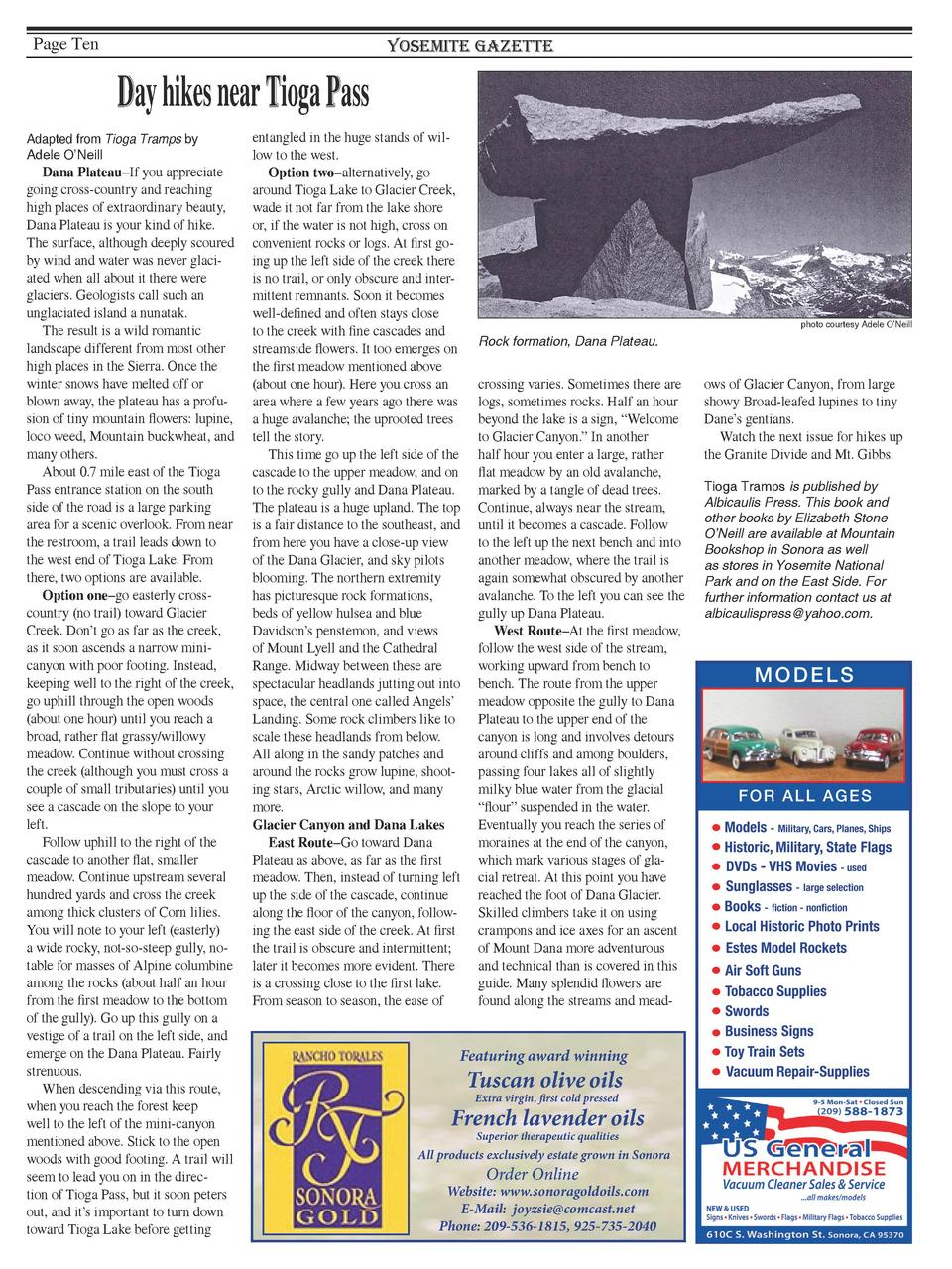 Page Ten  Yosemite Gazette  Day hikes near Tioga Pass Adapted from Tioga Tramps by Adele O   Neill  Dana Plateau   If you ...