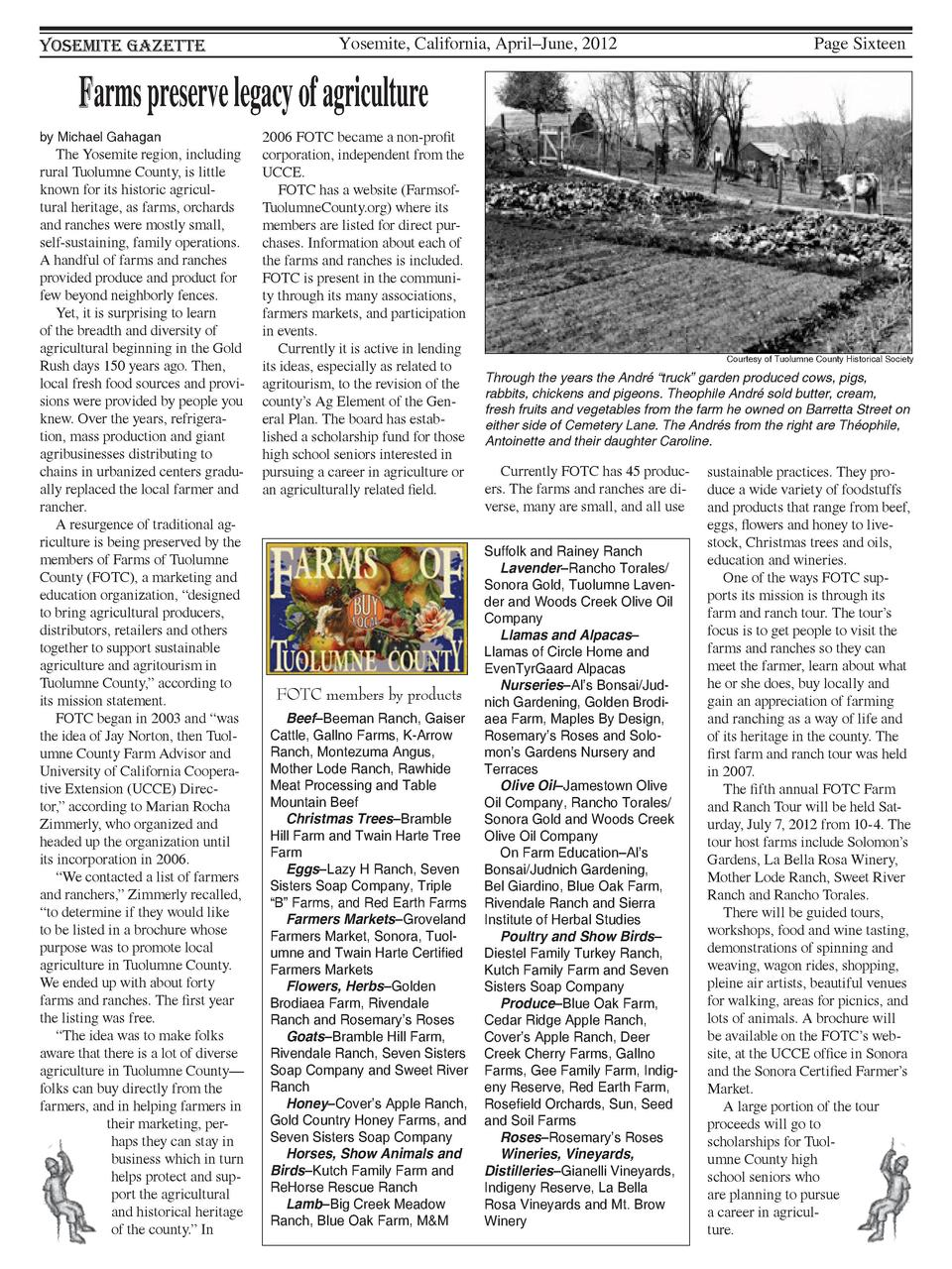 Yosemite Gazette  Yosemite, California, April   June, 2012  Page Sixteen  Farms preserve legacy of agriculture by Michael ...