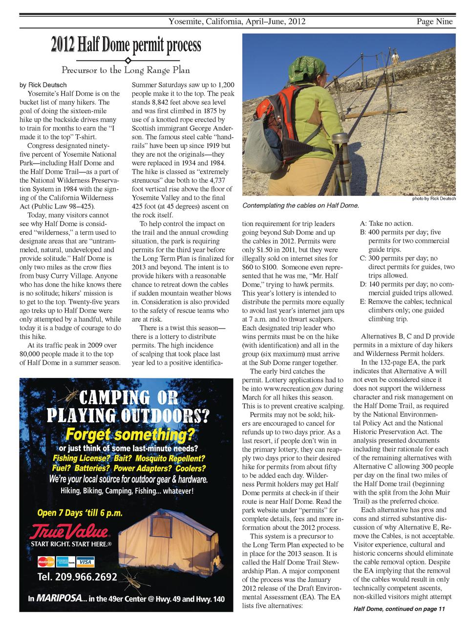 Yosemite, California, April   June, 2012  Page Nine  2012 Half Dome permit process Precursor to the Long Range Plan by Ric...