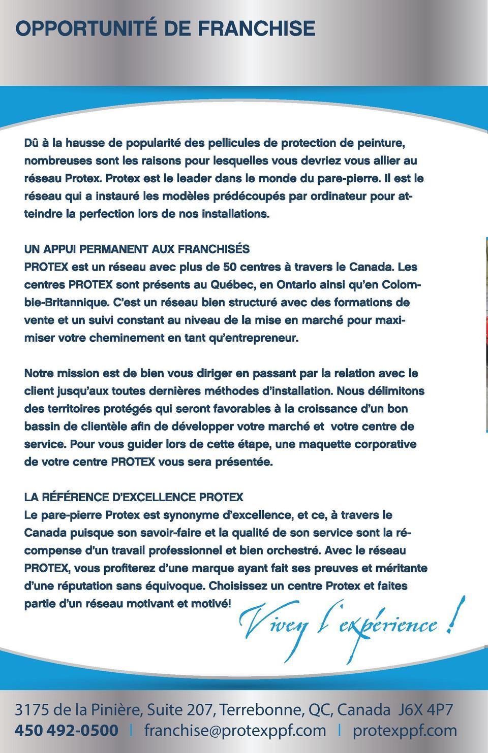 Protex Franchise_mode Cahier_FR.pdf  4  15-09-29  15 40  C  M  J  CM  MJ  CJ  CMJ  N  3175 de la Pini  re, Suite 207, Terr...