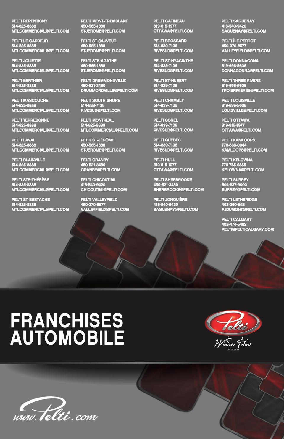 Pelti Franchise_mode Cahier_FR.pdf  1  15-09-28  21 29  C  M  J  CM  MJ  CJ  CMJ  N  SINCE 1989